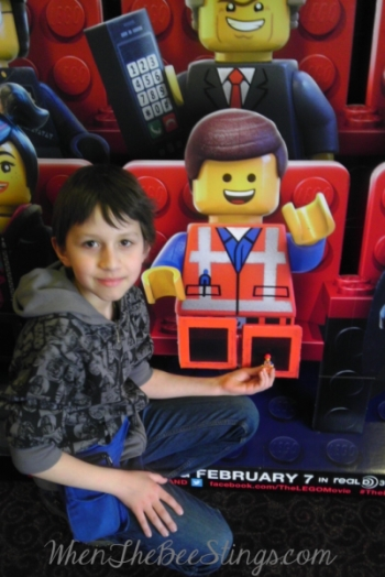 My son brought Little Emmet to see his big movie with him!