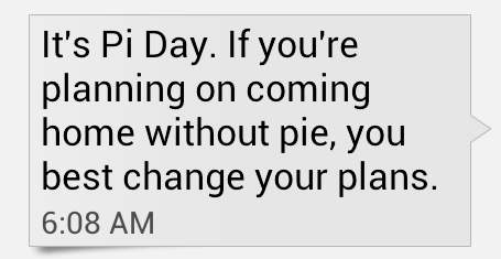 Pi Day Text